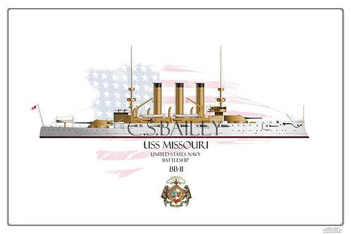 USS Missouri BB-11WL Print