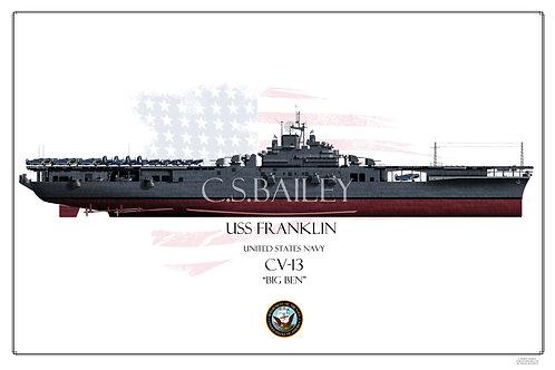 USS Franklin CV-13 MS 21 FH Print