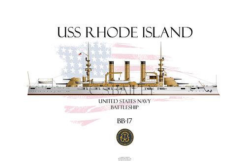 USS Rhode Island BB-17 WL T-shirt