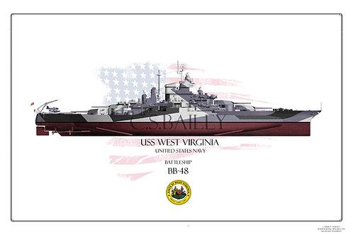 USS West Virginia 1944 BB-48 FH Print