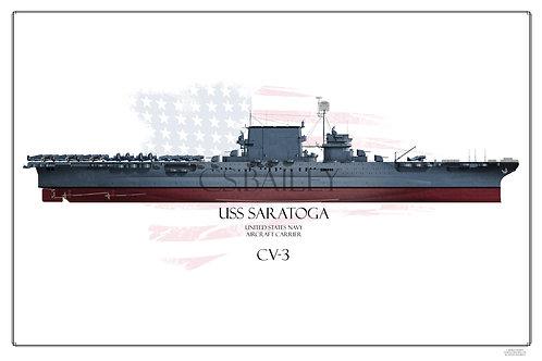 USS Saratoga CV-3 FH Ms 21 1944 Print