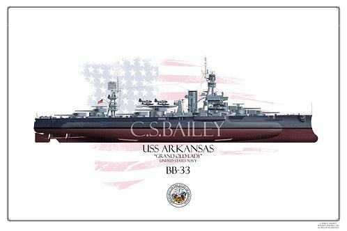 USS Arkansas MS22 FH Print