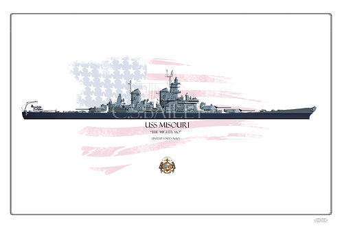 USS Missouri BB-63 MS22 WL print