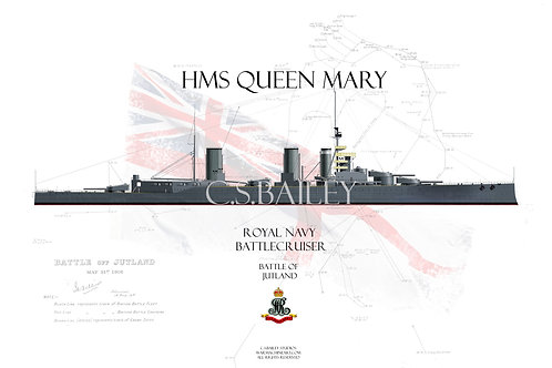 HMS Queen Mary Jutland WL t-shirt