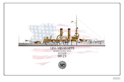 USS Mississippi BB-23 WL print