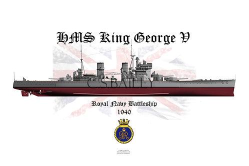 HMS King George V 1940 F/H t-shirt