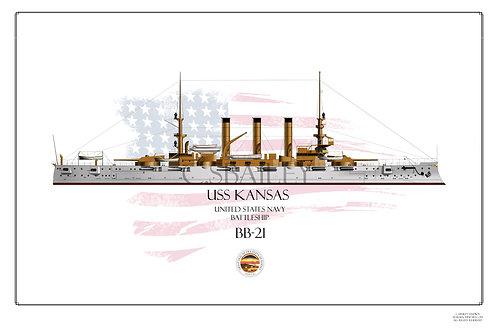 USS Kansas BB-21 WL Print