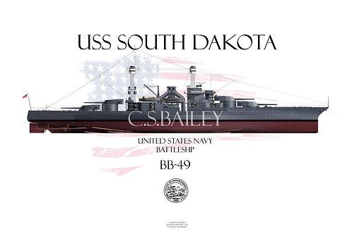 USS South Dakota BB-49 FH T-shirt