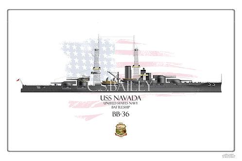USS Nevada 1920's WL Print