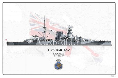 HMS Barham WL Print