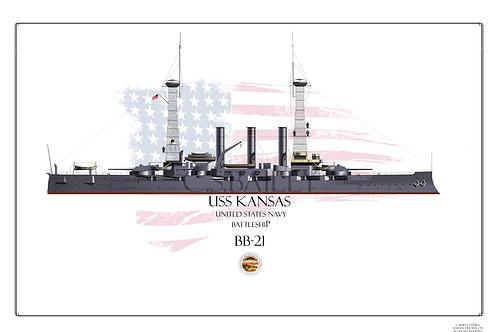USS Kansas BB-21 1918 WL Print