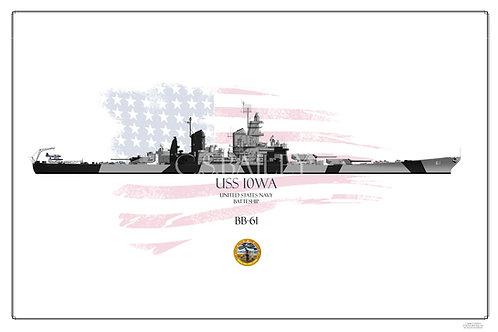 USS Iowa BB-61 Dazzle WL Print