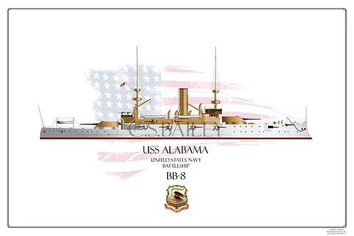 USS Alabama BB-8 WL Print