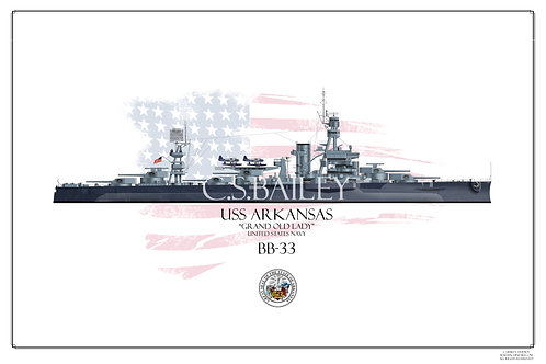 USS Arkansas MS22 WL Print
