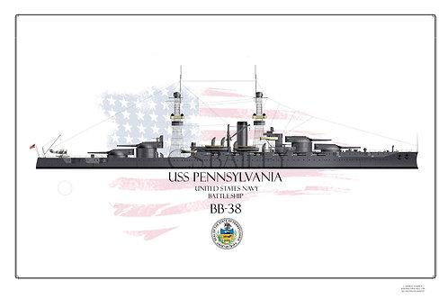 USS Pennslyvania BB-38 1918 WL Print