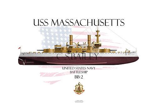 USS Massachusetts BB-2 FH T-shirt