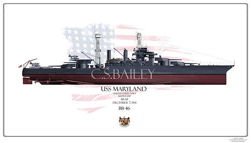 USS Maryland BB-46 1941 FH Print