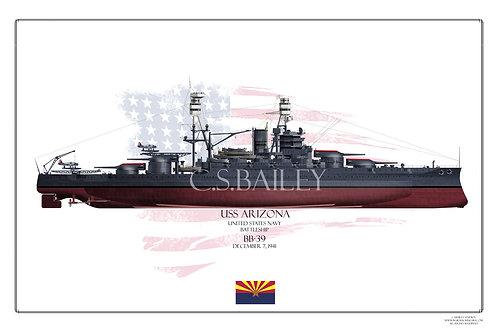 USS Arizona BB-39 1941 FH Print