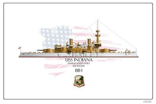 USS Indiana BB-1 WL Print