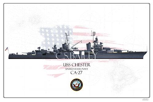 USS Chester CA-27 WL Print