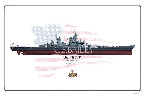 USS Missouri BB-63 MS22 FH print