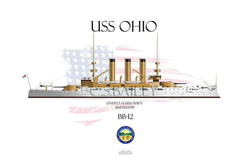 USS Ohio BB-12 WL T-shirt