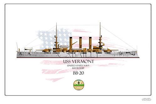 USS Vermont BB-20 WL Print