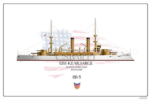 USS Kearsarge BB-5 WL Print