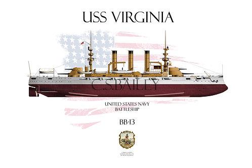 USS Virginia BB-13 FH T-shirt