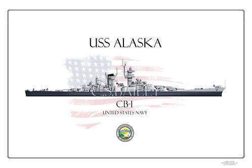 USS Alaska CB-1 MS 22 print