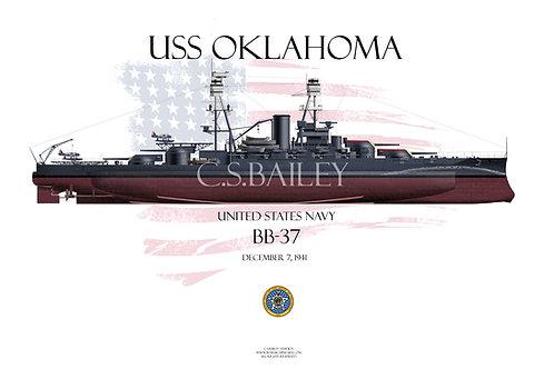 USS Oklahoma BB-37 FH T-shirt