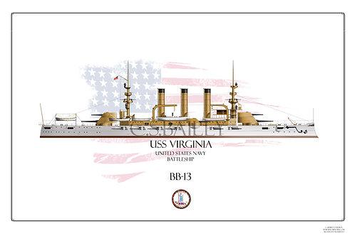 USS Virginia BB-13 WL Print
