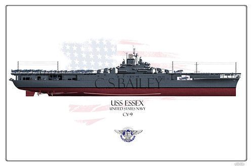 USS Essex CV-9 MS-21 F/H Print