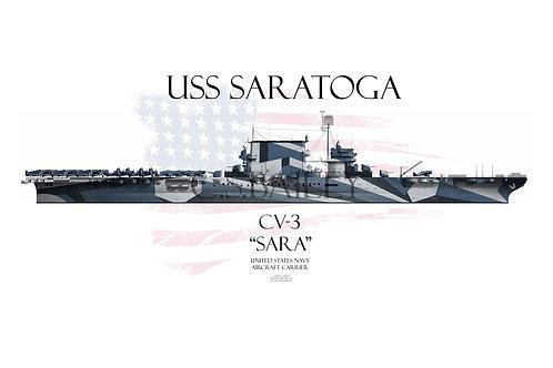 USS Saratoga CV-3 WL Dazzle t-shirt