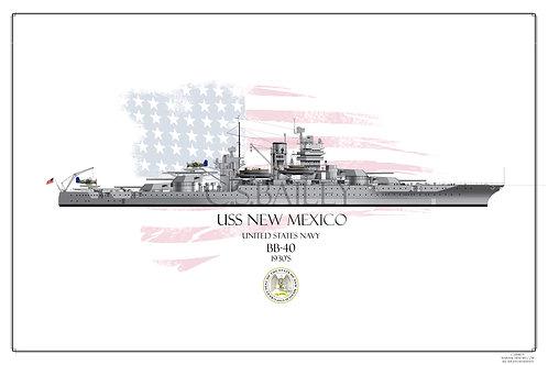 USS New Mexico 1930's WL print