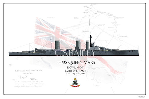 HMS Queen Mary Jutland WL Print