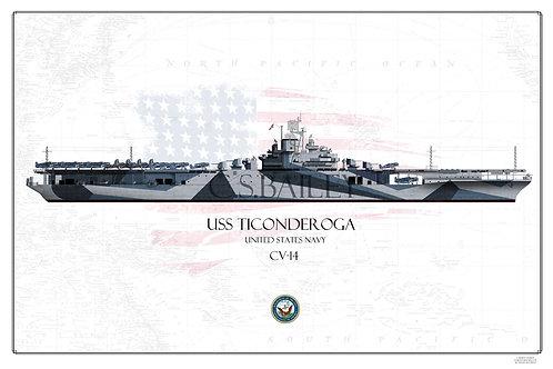 USS Ticonderoga CV-14 WL Print