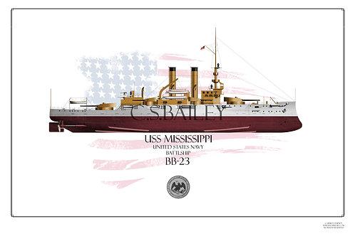 USS Mississippi BB-23 FH print