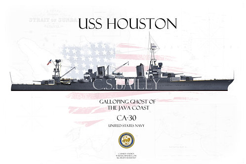 USS Houston CA-30 MS1 WL T-shirt