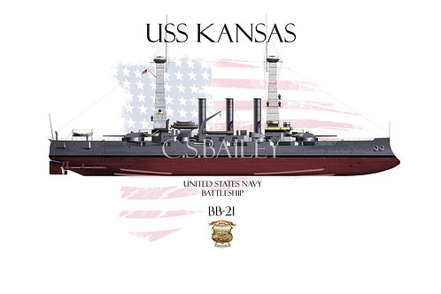USS Kansas BB-21 1918 FH T-shirt