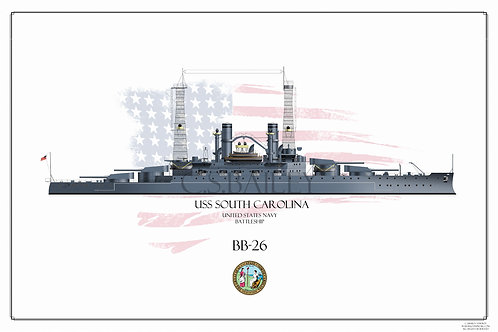 USS South Carolina BB-26  WL Print