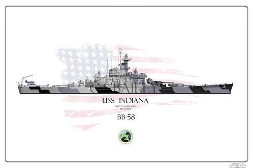 USS Indiana BB-58 WL print