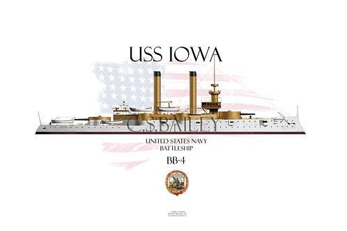 USS Iowa BB-4 WL T-shirt