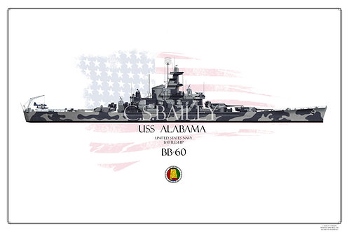 USS Alabama BB-60 WL Print