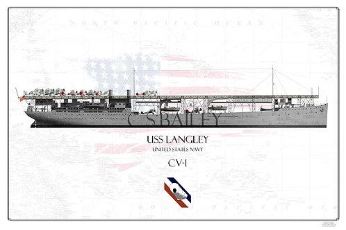 USS Langley CV-1 WL Print