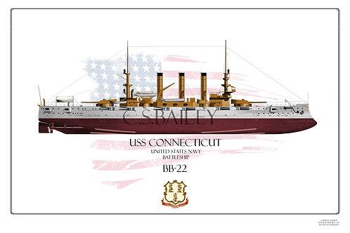 USS Connecticut BB-18 FH Print