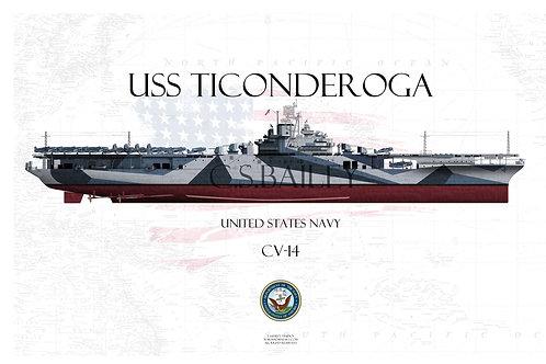 USS Ticonderoga CV-14 FH t-shirt