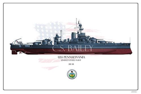 USS Pennslyvania 1944 FH Print