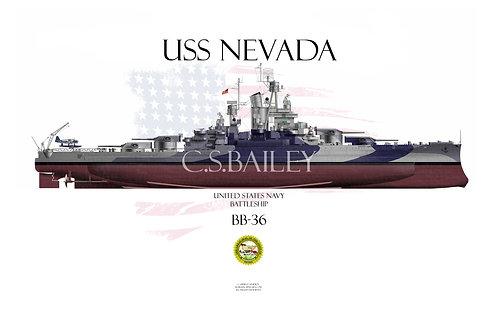 USS Nevada BB-36 Dazzle FH 1944
