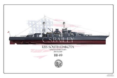 USS South Dakota BB-49 FH Print